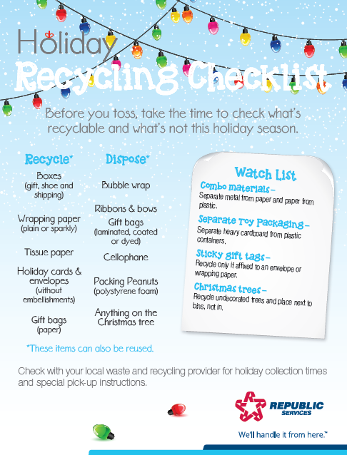 Holiday Recycling Checklist